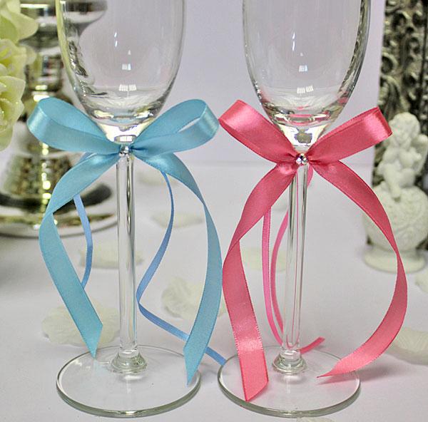 Украшение для бокалов Бантик со стразами (2 шт.) (розовый - голубой)