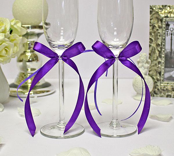 Украшение для бокалов Бантик со стразами (2 шт.) (фиолетовый)