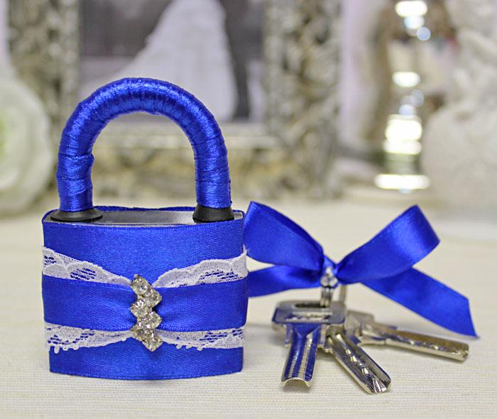 """Свадебный замочек """"Афродита"""" (синий)"""