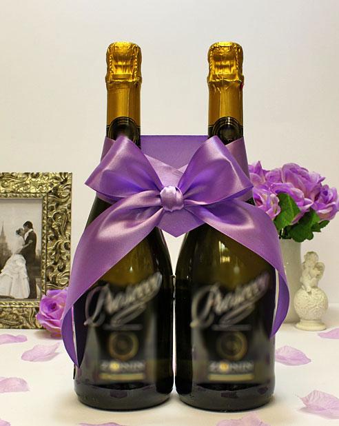 Украшение для шампанского Бант (фиолетовый)