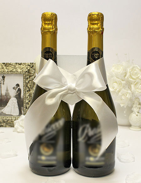 Украшение для шампанского Бант (белый)
