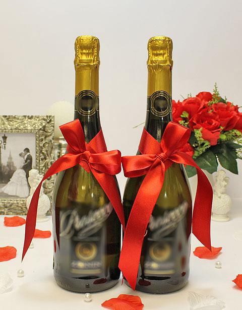 Украшение для шампанского Бантик (красный)