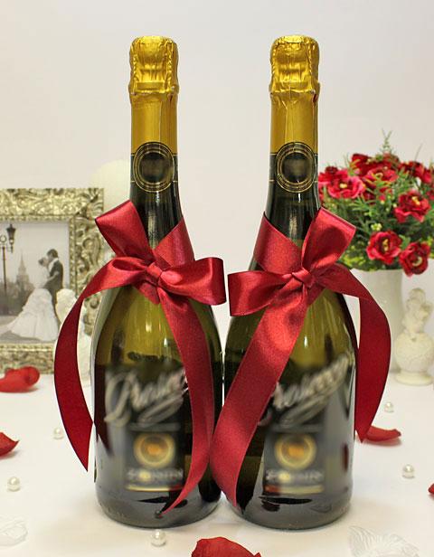 Украшение для шампанского Бантик (бордо)