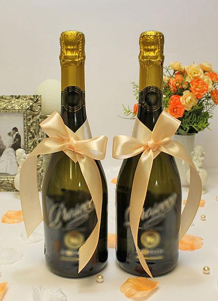 Украшение для шампанского Бантик (персиковый)