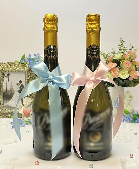 Украшение для шампанского Бантик (розовый - голубой)