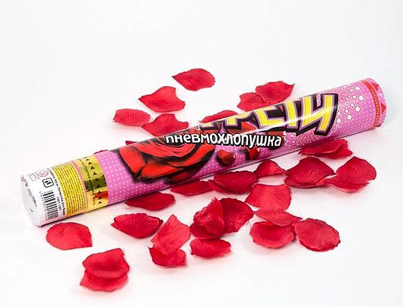 """Пневмохлопушка """"Лепестки роз"""" (бордо, 40 см)"""