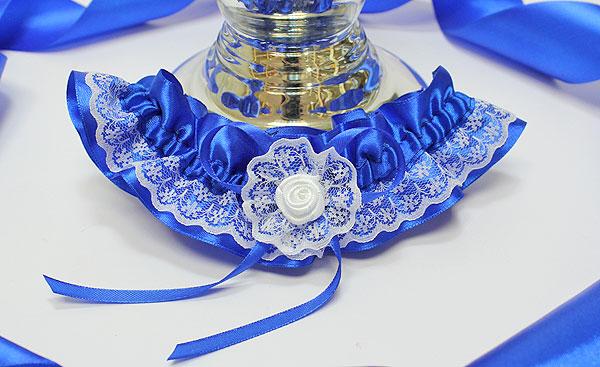 Подвязка для невесты Злата (синий)