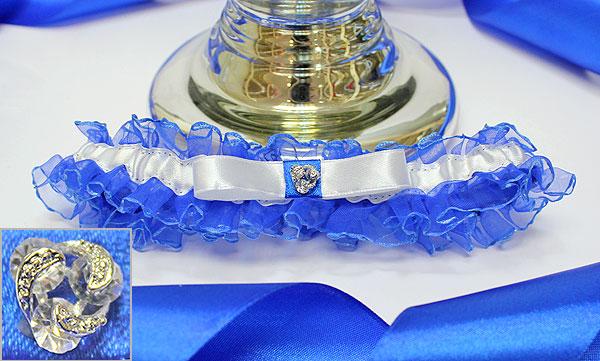 Подвязка для невесты Чаровница (синий)