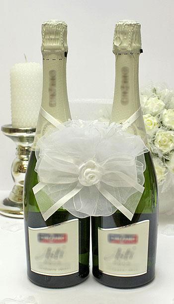 """Декоративное украшение на свадебное шампанское """"Нежное прикосновение"""" (белый)"""