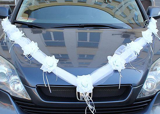 Лента на свадебную машину Пышные розочки (2 луча) (белый)