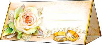 """Рассадочная карточка на свадьбу """"Роза в жемчугах"""""""