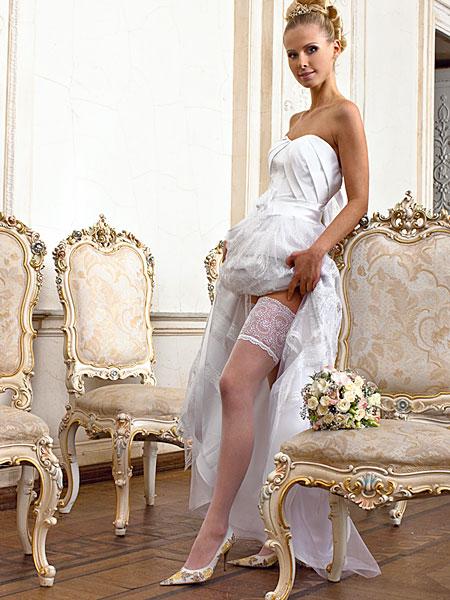 Свадебные чулки для невесты Charmante Foglietti (L/XL, белый, 40 den)