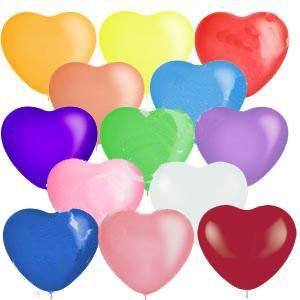 """Набор шаров """"Разноцветные сердца"""" (25 см, 10 шт)"""