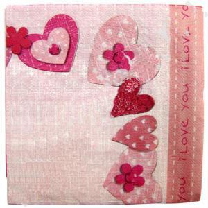 """Упаковка салфеток """"Сердечки"""" (20 шт, 33х33 см)"""