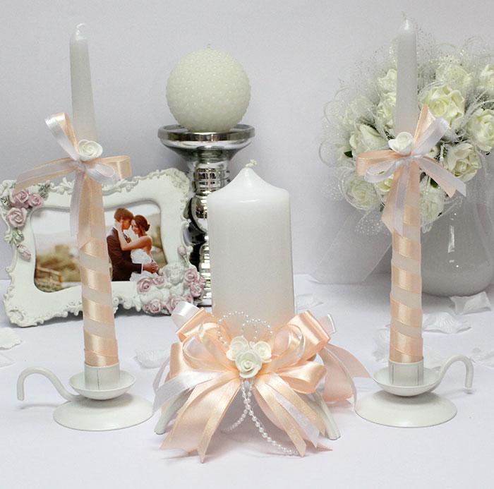 Домашний очаг + 2 свечи Fantastic (без подсвечников) (персиковый)