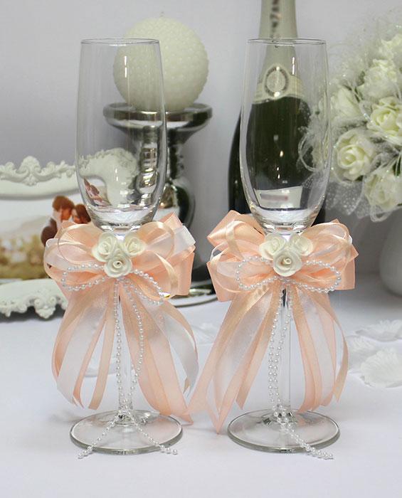 Свадебные бокалы ручной работы Fantastic (2 шт) (персиковый)