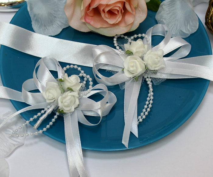 Набор свадебных аксессуаров для свидетелей Розанна (2 шт) (белый)