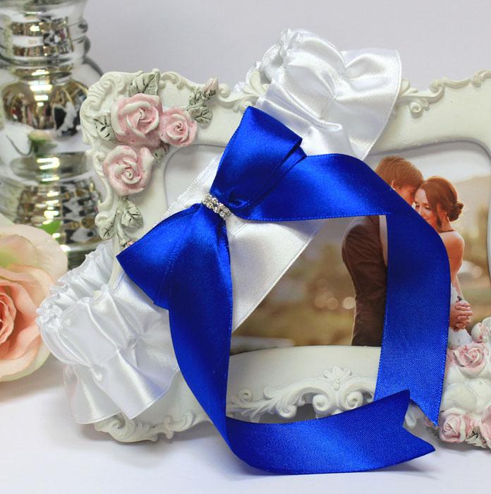 """Подвязка свадебная """"Королевский сапфир"""" (синий)"""