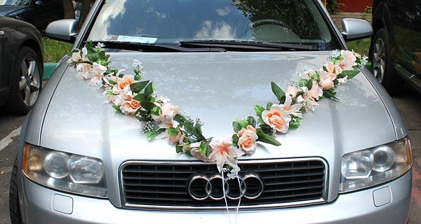 Набор свадебных украшений на машину Цветочная фантазия (персиковый)