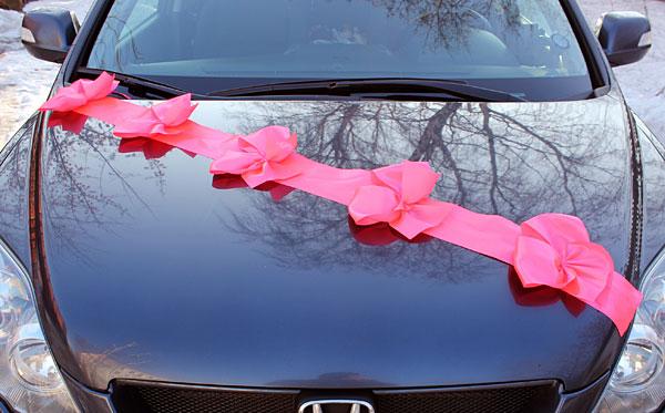 Автомобильные ленты на свадьбу Миледи (1 луч) (ярко-розовый)