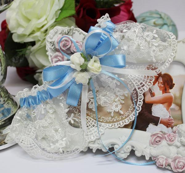 Подвязка для невесты Розанна (голубой)