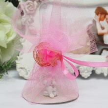 Бонбоньерка из фатина с цветком (розовая)