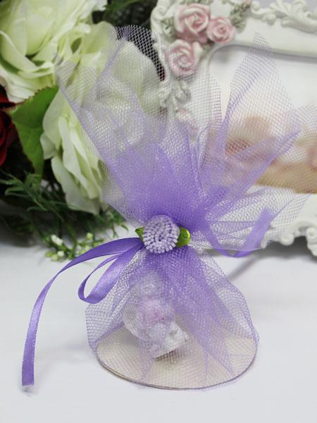 Бонбоньерка из фатина с цветком (сиреневая)