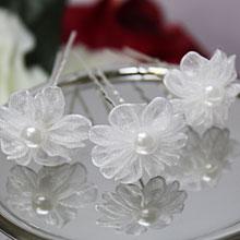 """Свадебная шпилька """"Цветок и жемчуг"""" (белый)"""