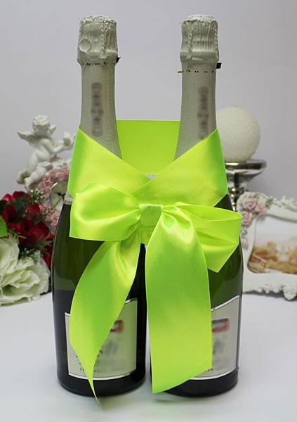 Украшение для шампанского Бант (желто-зеленый)