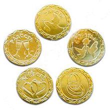 Монеты свадебные с пожеланиями (12 шт, для обсыпания или выкупа)