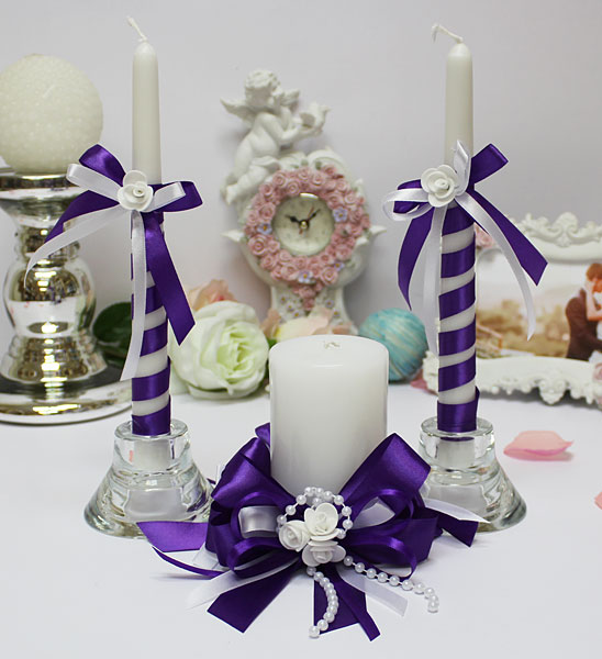 Домашний очаг + 2 свечи Fantastic (без подсвечников) (фиолетовый)