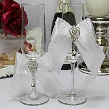 """Бокалы для молодоженов свадебные """"Ледяная роза"""""""