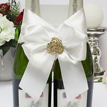 """Свадебное украшение для бутылок  """"Фрезия"""" (айвори)"""