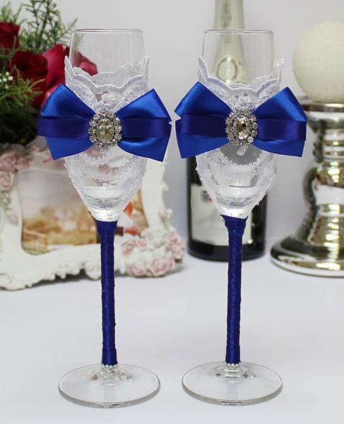 """Синие свадебные бокалы ручной работы """"Портофино"""" (2 шт) ( синий)"""
