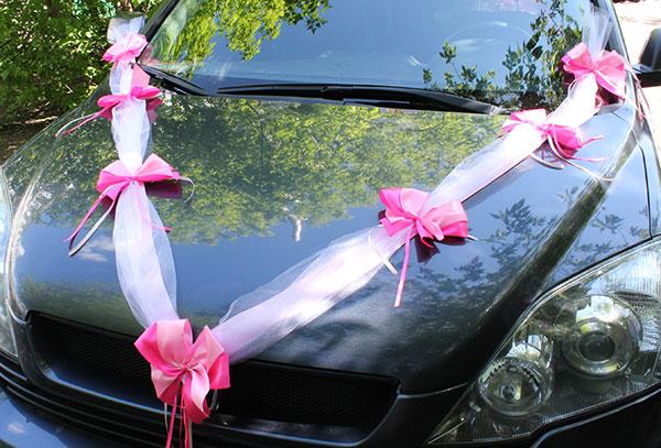 "Лента на машину ""Фатиновая фантазия"" (2 луча) (розовый)"