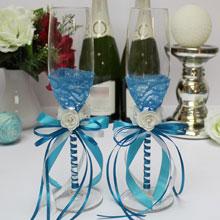 Свадебные бокалы с кружевом Летний бриз