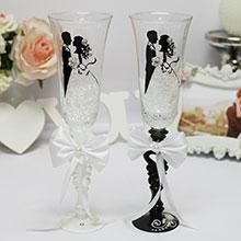 """Свадебные бокалы для молодоженов """"Силуэт"""" (2 шт)"""