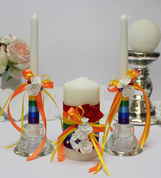 "Домашний очаг + 2 свечи ""Rainbow"" (оранжевый)"