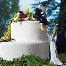 """Фигурка для торта на свадьбу """"Поймана на крючок"""" (15 см)"""