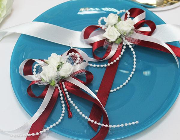 Набор свадебных аксессуаров для свидетелей Розанна (2 шт) (красный)