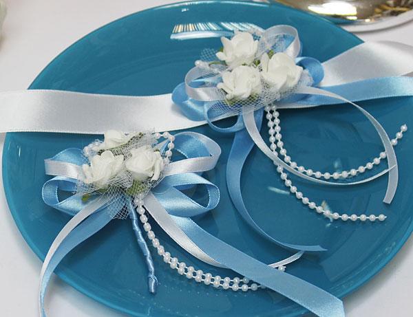 Набор свадебных аксессуаров для свидетелей Розанна (2 шт) (голубой)