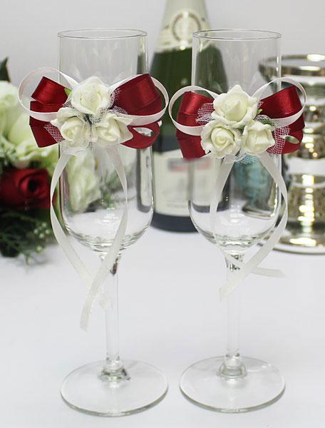 Свадебное украшение на бокалы Розанна (красный)