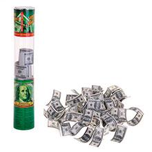 """Пневмохлопушка прозрачная 25 см """"Доллары"""""""