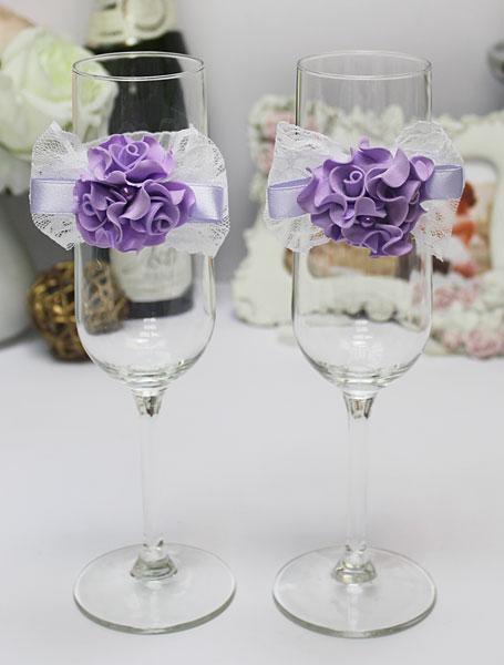 Украшение для бокалов Изысканные розы (2 шт) (сиреневый)