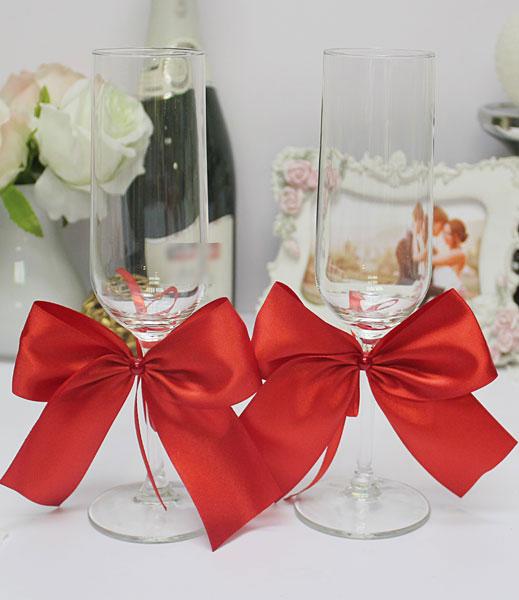 Свадебное украшение для бокалов Paradise (2 шт) красный)