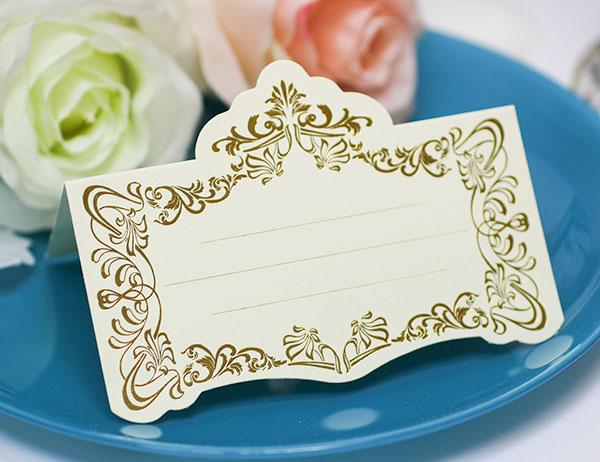 Рассадочные  карточки для гостей на свадьбу Вензеля (золотой)
