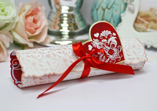 """Свадебное приглашение-свиток """"Изысканность"""" (#746, красный)"""
