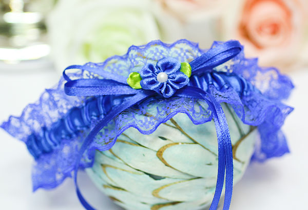 Подвязка для невесты Алиса (синий)