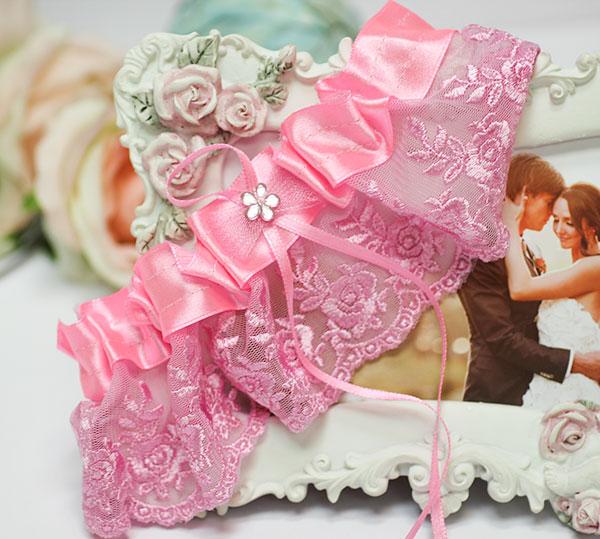"""Подвязка для невесты """"Цветок"""" (розовый)"""