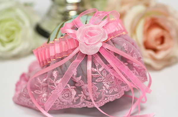 """Свадебная подвязка для невесты """"Розалинда"""" (розовый)"""